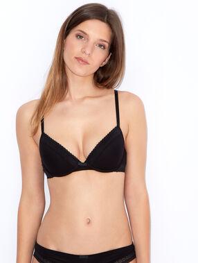 Cotton padded demi cup bra black.
