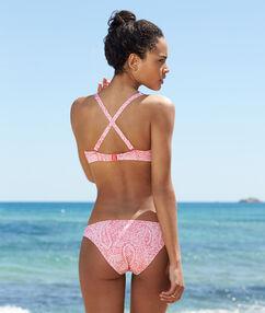 Haut de maillot de bain triangle souple imprimé avec armatures rose.