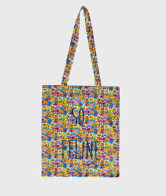 Tote bag liberty animalier et pailleté liberty jaune.