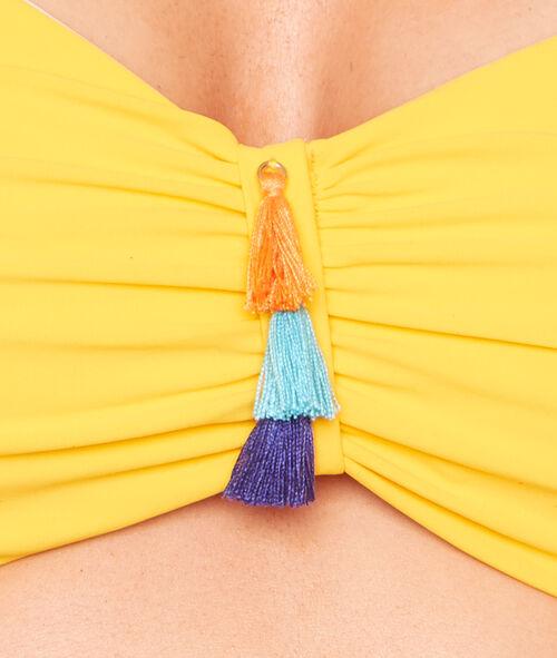 Haut de maillot de bain bandeau bretelles et pad amovibles, détail pompons