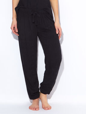 Pantalon jacquard noir.