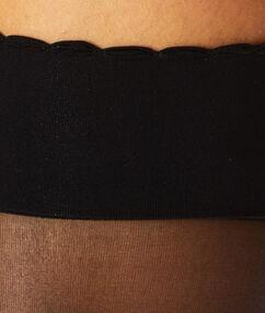 2 paires de mi-bas 15d poudré noir.