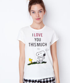 Top imprimé snoopy ecru.