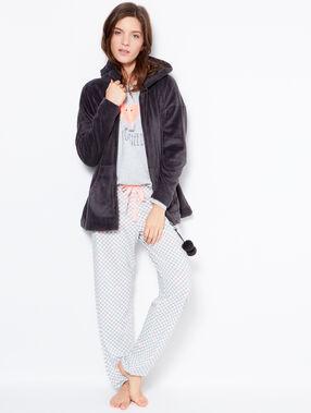 Pyjama 3 pièces, veste toucher polaire rose.