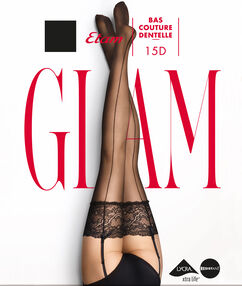 Stockings with lace and back seam noir.