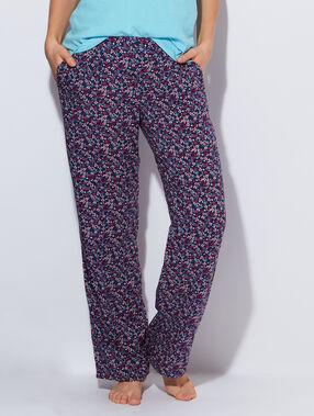 Pantalon large et fluide imprimé à fleurs marine.