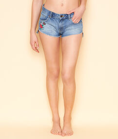 Short en denim avec broderie ethnic bleu denim.