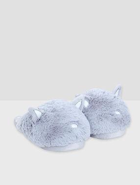 Mules 3d chat gris.