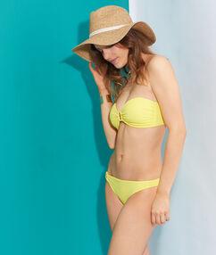 Culotte de bain unie, détail boucle *fluo* jaune fluo.