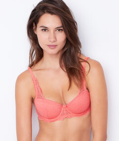 Padded demi cup bra coral.
