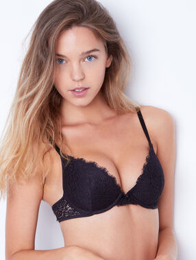 Lace magic up bra black.