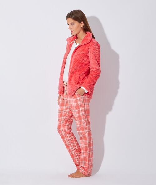 Pyjama 3 pièces, bas à carreaux, veste polaire toucher peluche