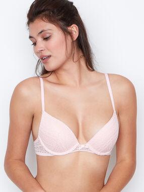 Soutien-gorge push up dentelle rosa.