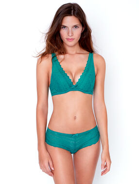 Lace triangle push up bra green.
