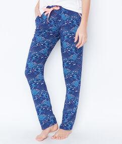 Pantalon imprime bleu.