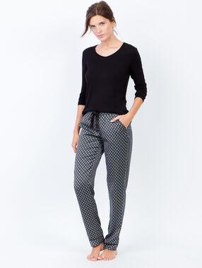 Lejące spodnie od piżamy w deseń noir.
