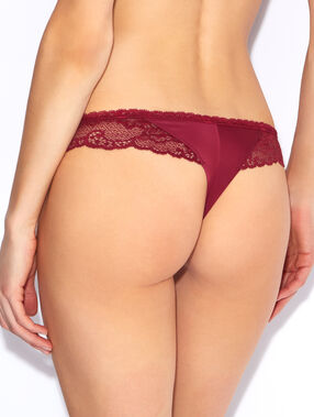 Lace and micro tanga red.