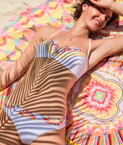 Fouta détail imprimé multicolore bohème multicolore.