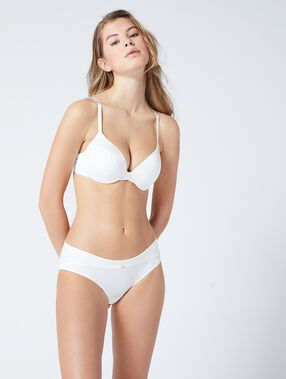 Micro padded demi cup bra, d cup white.