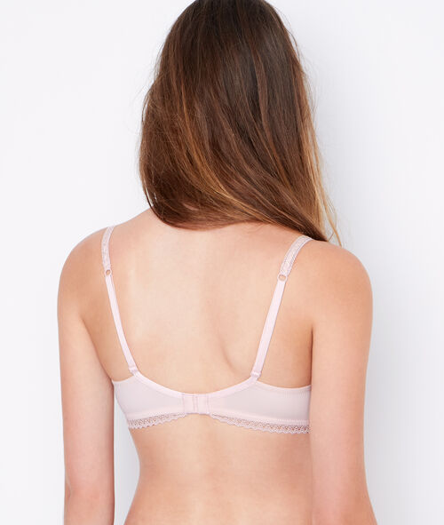 Lace and micro padded demi cup bra, D cup;${refinementColor}