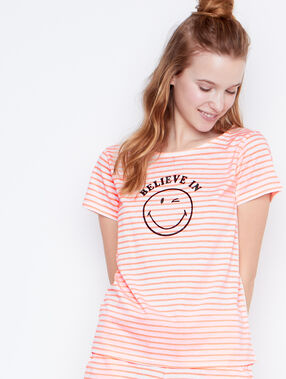 T-shirt message smiley orange.