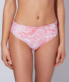 Bikini multipositions taille basse/taille haute imprimé rose / blanc.