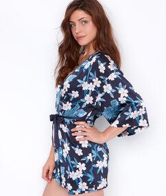 Déshabillé kimono imprimé fleuri marine.