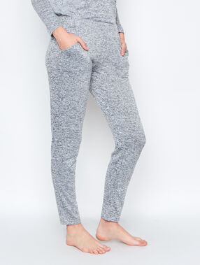 Pantalon homewear maille chinée ultra douce gris.