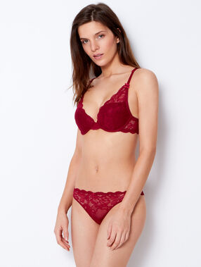 Triangle push up dentelle florale bordeaux grenat.