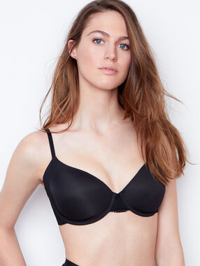 Padded demi cup bra, d cup black.