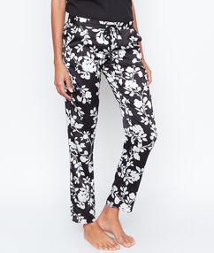 Satynowe spodnie w deseń kwiatowy noir.