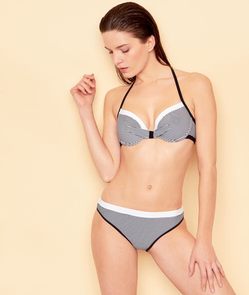 Haut de maillot de bain push-up rayé;${refinementColor}