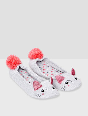 Mouse ballet flats with pompom grey.