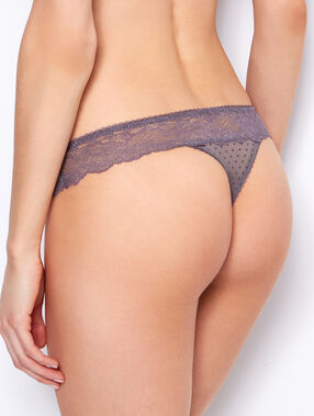 Lace thong grey.