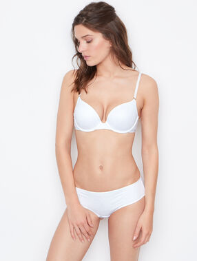 Lace padded demi cup bra white.