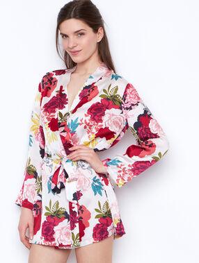 Déshabillé kimono imprimé blanc.