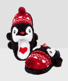 Zapatillas pingüino de fantasía negro.