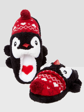 3d penguin slippers black.