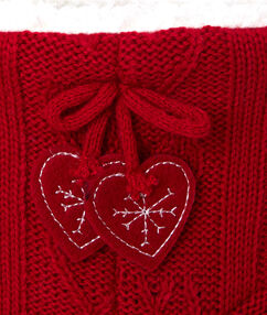 Knitted slipper boots red.