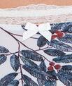 String en micro imprimée, détail dentelle florale