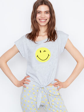 T-shirt imprimé smiley gris.