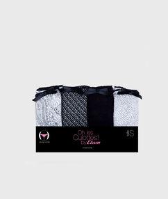 Pack de 4 braguitas algodón negro.