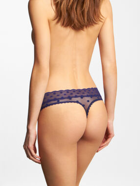 Lace thong blue navy.