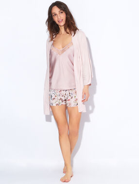 Short en viscose, imprimé floral rose.