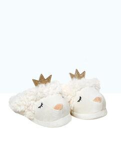 Mules mouton 3d, détail couronne à paillettes écru.