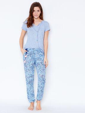 Pantalón holgado estampado azul.