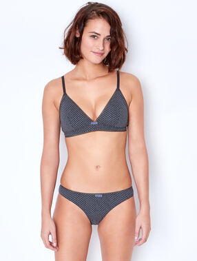 Polka dot cotton knickers grey.