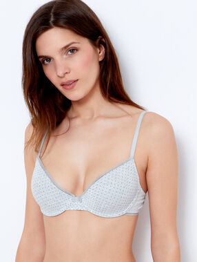 Cotton padded demi cup bra grey.