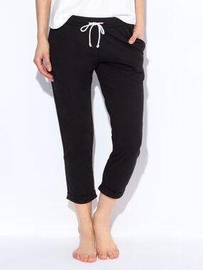 Pantalon, détail revers à rayures noir.