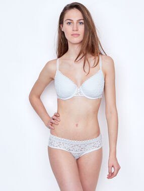 Padded demi cup bra, d cup white.